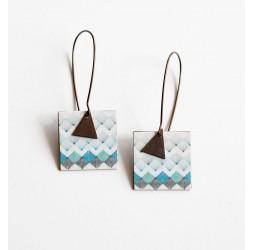 Boucles d'oreilles pendantes, fantaisie, géométrique, bleu et noir, bronze