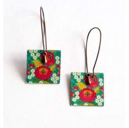 Drop Earring, fancy, flowers red poppies, green, bronze