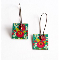 Pendiente colgante, suposición, flores amapolas rojas, verde, bronce