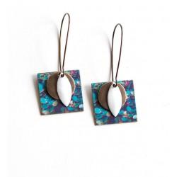 Boucles d'oreilles pendantes, fantaisie, nature, nénuphar, bleu vert, bronze