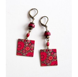 Pendiente colgante, flores de fantasía, rojo y rosa, India, bronce