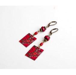 Boucles d'oreilles pendantes, fantaisie, Fleurs rouge et rose, Indien, bronze