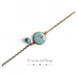Woman bracelet, fine chain, pink flamingo cabochon, Exotic
