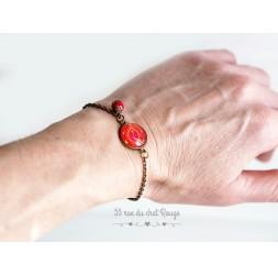 Bracelet chaine fine, flamant rose et turquoise