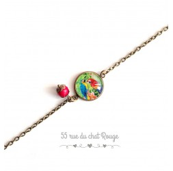 Bracelet Exotique, Tropical, coloré, Perroquets, bleu rouge, bronze
