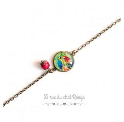 Bracelet Exotique, Tropical, coloré, Perroquets, bleu rouge, bronze