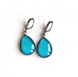 Boucles d'oreilles Gouttes, Bleu turquoise, petit pois, bronze ou argenté