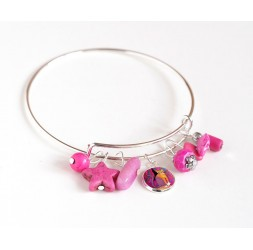 Bracelet Rushes, silver plated, fuchsia pink pearls and cabochon 12 mm