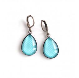 Boucles d'oreilles gouttes, bleu clair, petit pois, bronze ou argenté