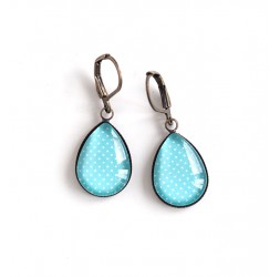 Earrings drops, light blue, polka dots, bronze or silver