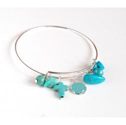 Armband Binsen, versilberte, blaue und türkisfarbene Perlen und 12 mm Cabochon
