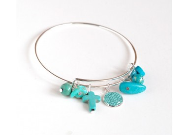 Bracelet Rushes, silvered, blue and turquoise pearls and 12 mm cabochon
