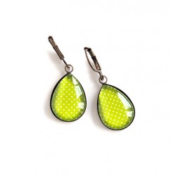 Earrings drops, lime green, polka dots, bronze or silver