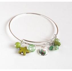 Pulsera Rushes, plateado, perlas verdes y cabujón 12 mm