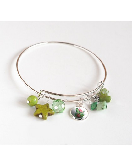 Bracelet Rushes, silver plated, green pearls and cabochon 12 mm