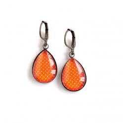 Earrings drops, orange, polka dots, bronze or silver