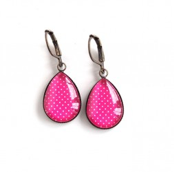 Earrings drops, fuchsia, polka dots, bronze or silver