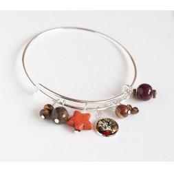 Pulsera Anillos, plateados, perlas marrones y cabujón 12 mm