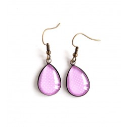 Earrings drops, pink, polka dots, bronze or silver