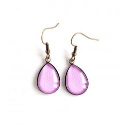 Earrings drops, pink, polka dots, bronze or silver