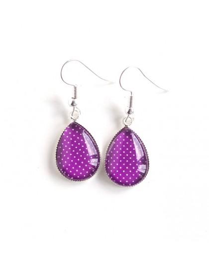 Boucles d'oreilles gouttes, violet, petit pois, bronze ou argenté