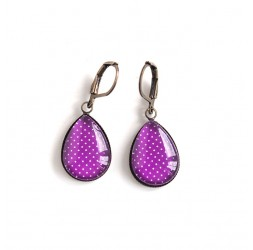 Earrings drops, purple, polka dots, bronze or silver