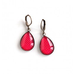 Earrings drops, red, polka dots, bronze or silver