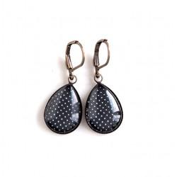 Earrings drops, black, polka dots, bronze or silver
