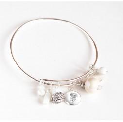 Armband Binsen, versilbert, weiße Perlen und 12 mm Cabochon