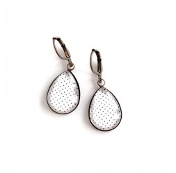 Earrings drops, white, polka dots, bronze or silver