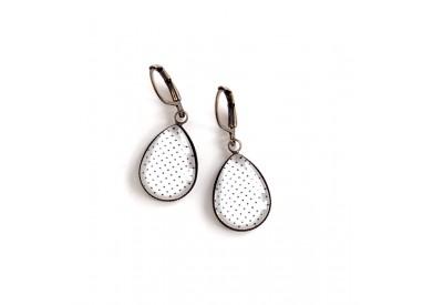 Ohrringe Tropfen, weiß, Erbse, Bronze oder Silber