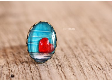 Cabochon Ring Little red and blue heart