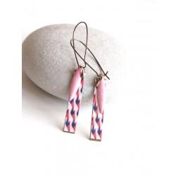 Fantasie Ohrringe, geometrisch, rosa und blau, Bronze, Frau Schmuck