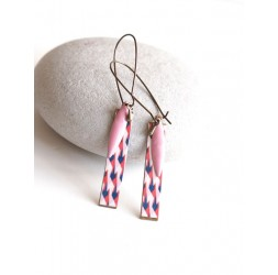 Fantasy earrings, geometric, pink and blue, bronze, woman's jewelry