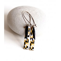 Fantasy earrings, geometric, black and gold, bronze, woman's jewelry