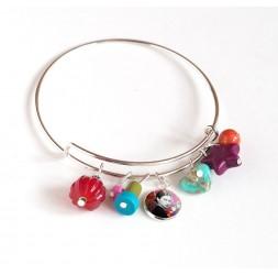 Bracciale Giunture, argento placcato, perle multicolore e cabochon 12 mm