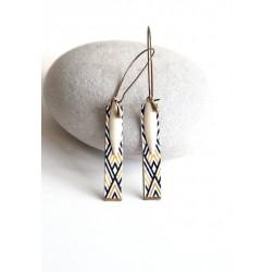 Boucles d'oreilles fantaisie, géométrique, beige et noire, bronze, bijoux pour femme