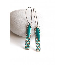 Fantasy earrings, geometric, turquoise and gold, bronze, woman's jewelry