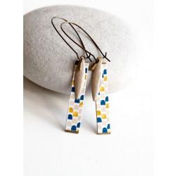 Boucles d'oreilles fantaisie, géométrique, bleu, beige, doré, bronze, bijoux pour femme