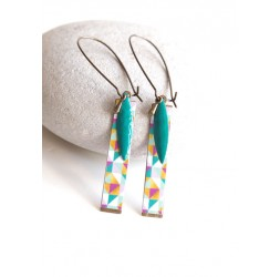 Fantasy earrings, geometric, multicolor, turquoise, bronze, woman's jewelry