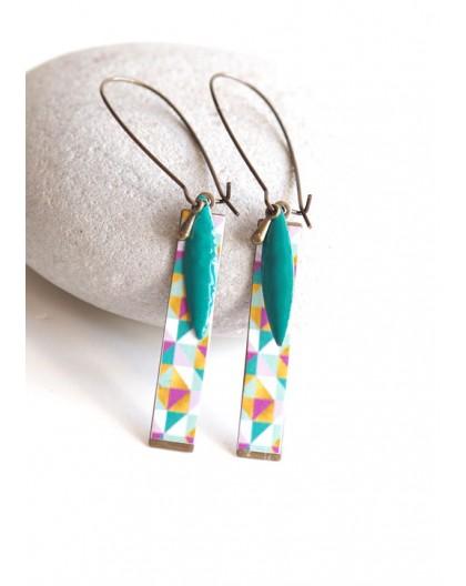 Fantasy earrings, geometric, multicolor, turquoise, bronze, woman's jewelry