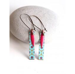 Boucles d'oreilles fantaisie, fleuri, turquoise et rouge, bronze, bijoux pour femme