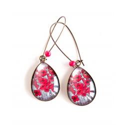 Boucles d'oreilles cabochon, gouttes, bouquet de coquelicots rouge, noir, bronze