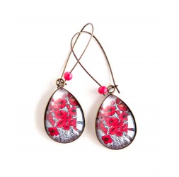 Earrings cabochon drops bouquet of red poppies, black, bronze