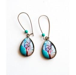 Boucles d'oreilles cabochon, gouttes, arbre de vie, bleu lagon, rouge, bronze