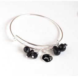 Bracciale Anelli, argento placcato, perle nere e cabochon 12 mm