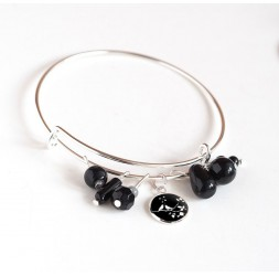 Bracelet Rings, silver plated, black pearls and cabochon 12 mm