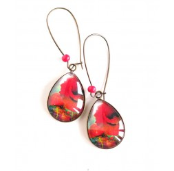 cabochon earrings, drops, red poppy blossomed, bronze