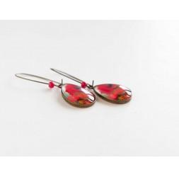 orecchini cabochon, gocce, rosso papavero sbocciato, bronzo