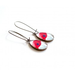 cabochon earrings, drops, red poppy, white, bronze